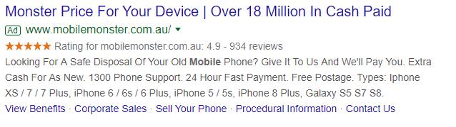 Mobile Monster's Google Seller Ratings