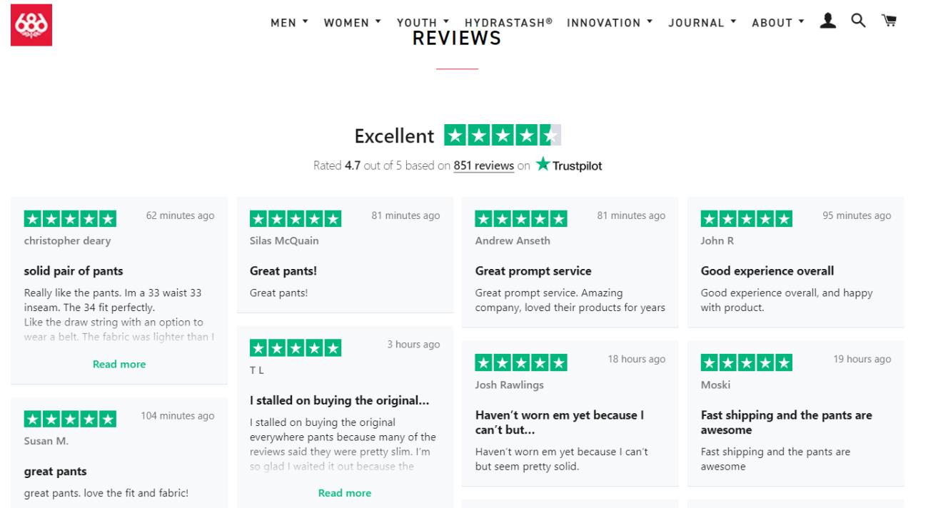 686 Trustpilot Reviews Onsite