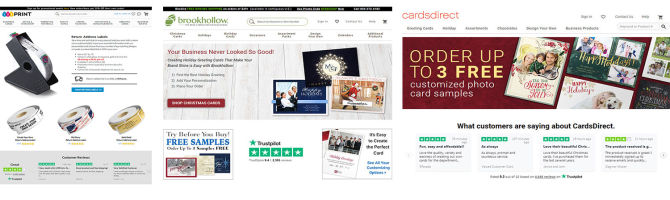CardsDirect uses reviews across all landing pages
