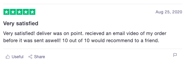 Flowers.ie customer review