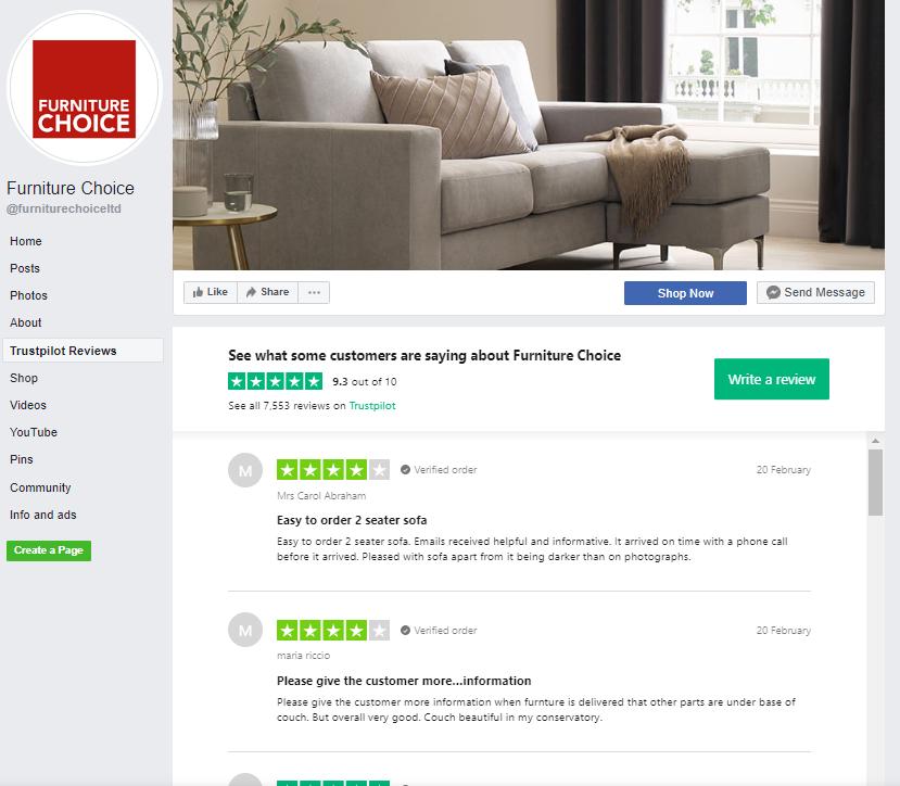 Furniture Choice reviews integration FB