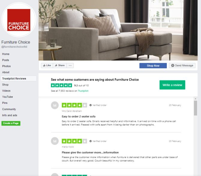 Furniture Choice reviews integration FB