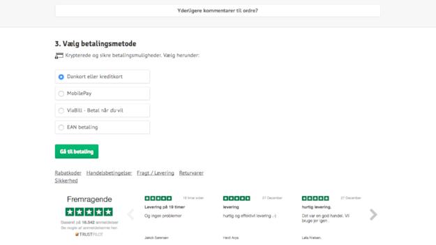 Trustpilot-Bewertungen auf der Warenkorb-Seite von Cykelpartner
