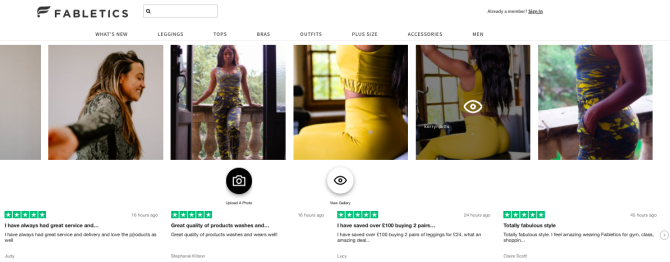 Fabletics displays their customers' photos as well as online reviews on their homepage