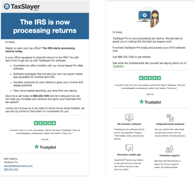 Trustpilot reviews in TaxSlayer Pro email campaigns