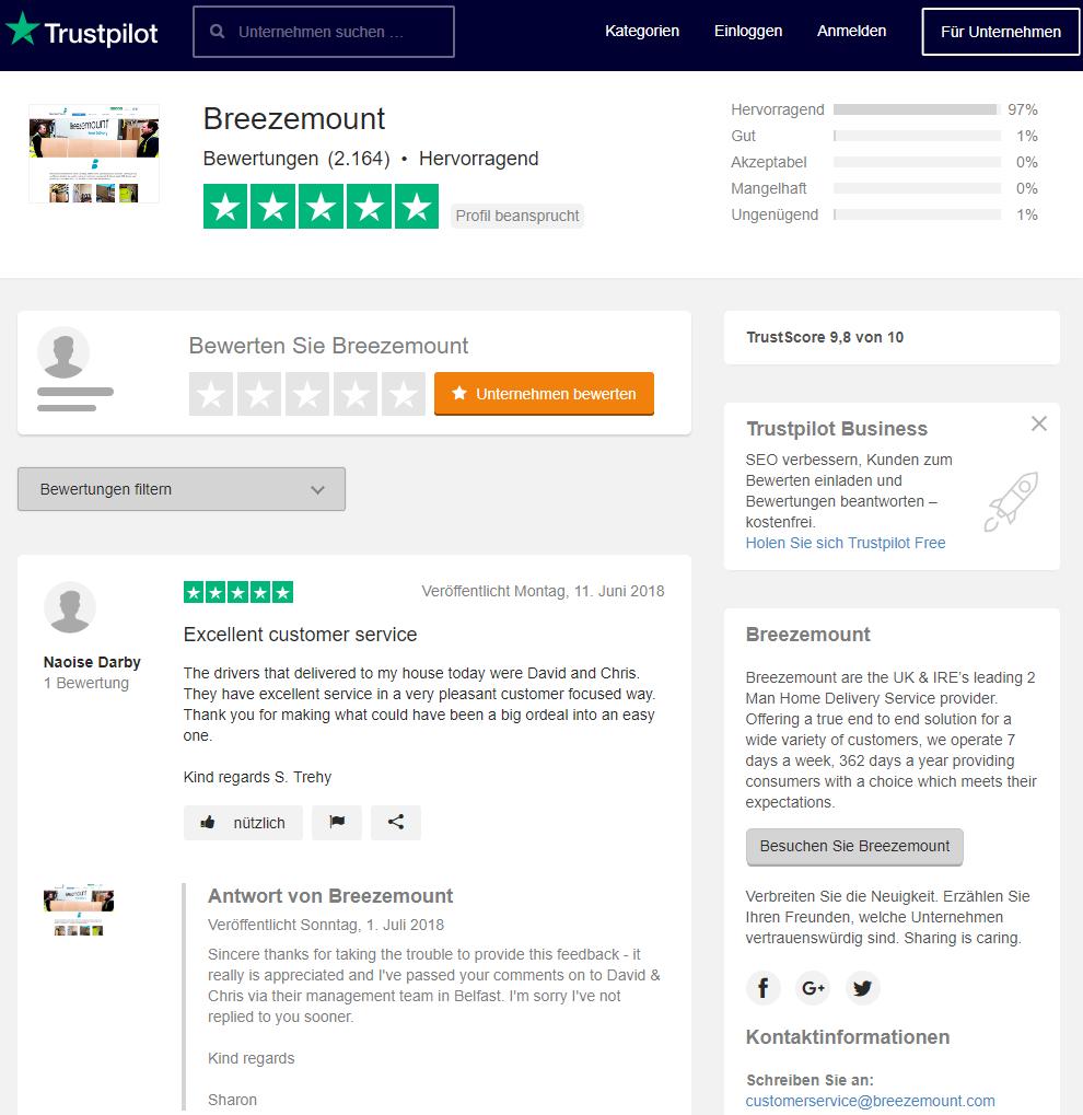 Trustpilot-Profil von Breezemount