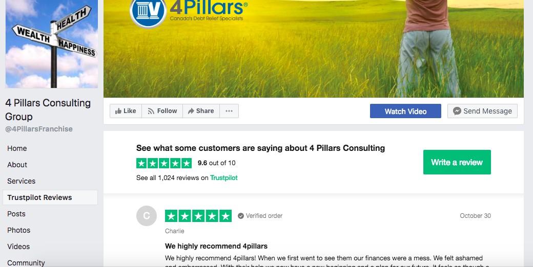 4 Pillars Facebook page with Trustpilot integration