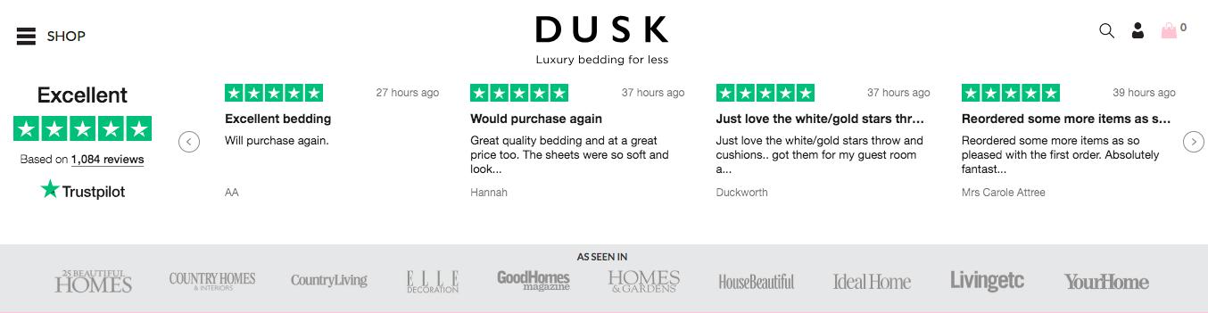 on-site Trustpilot customer reviews