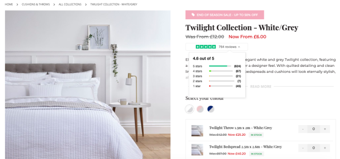 Dusk displays product reviews on site