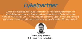 Durch die Trustpilot-Bewertungen erhielten wir Google-Verkäuferbewertungen und verzeichneten eine Reduzierung der AdWords-CPA-Kosten um 11,14Prozent. So sparen wir über 40.000 € pro Jahr und verbessern unseren Trustpilot-ROI noch weiter.