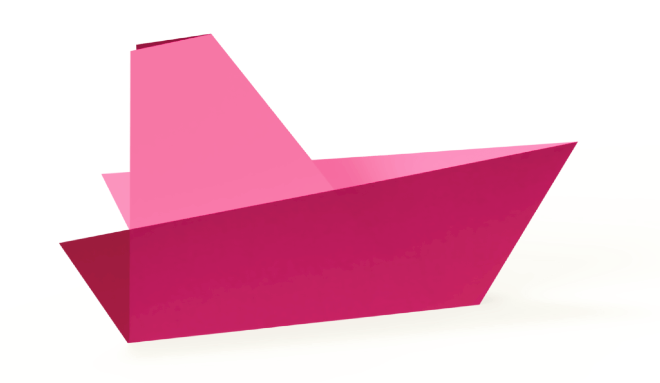 Pink origami boat - Mobile