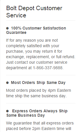 Bolt Depot Customer Service