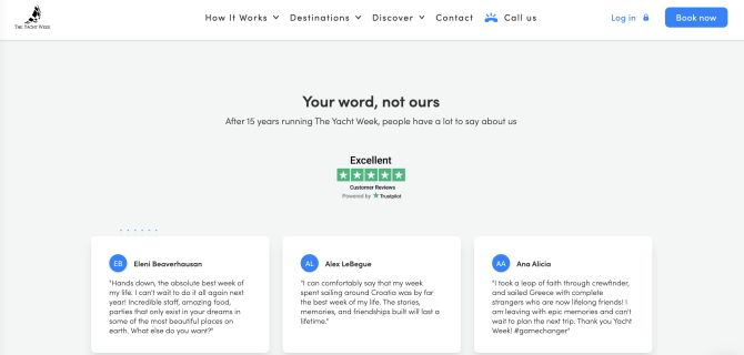 The Yacht Week home page displaying Trustpilot reviews with a Trustbox carousel
