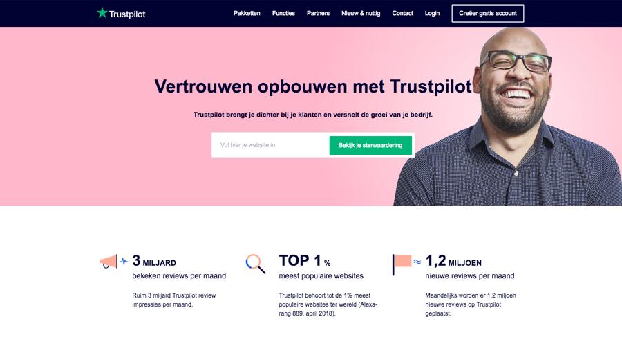 trustpilot bizweb frontpage screenshot nl 800x520