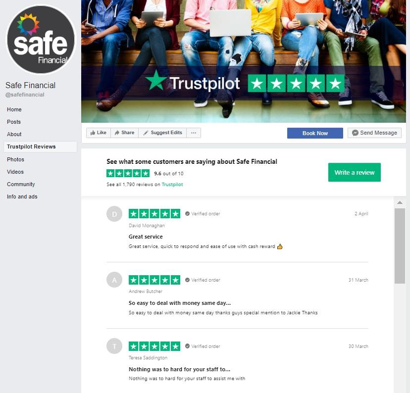 Safe Financial facebook integration Trustpilot reviews