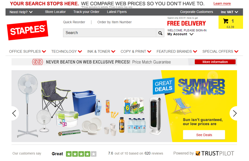 TrustBox auf Unternehmenswebsite von Staples