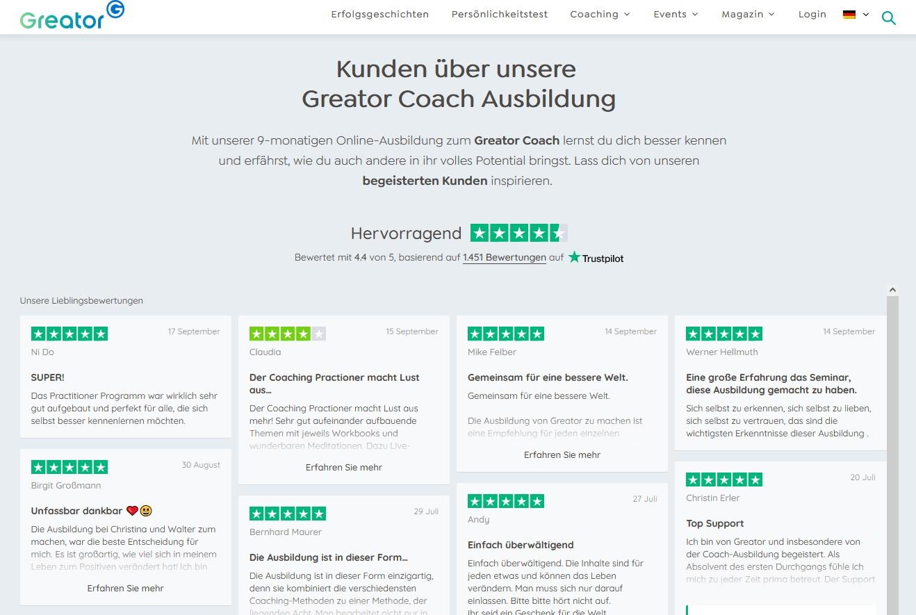 Screenshot der Erfolgsgeschichten-Seite auf der Website von Greator im September 2021