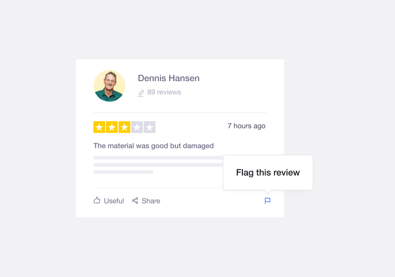 Trustpilot's flagging functionality