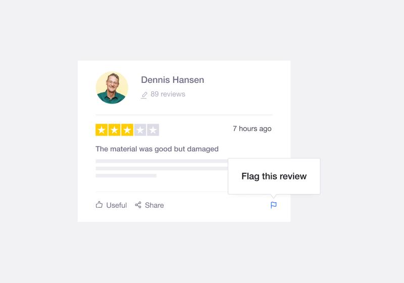 Trustpilot's flagging functionality