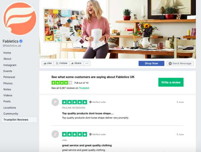 Fabletics Trustpilot social media reputation management