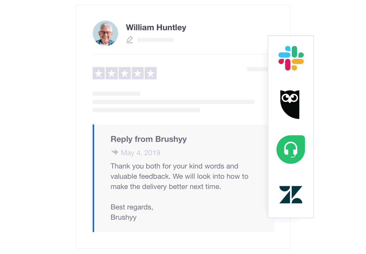 Trustpilot integrations with Zendesk, Hootsuite and Slack
