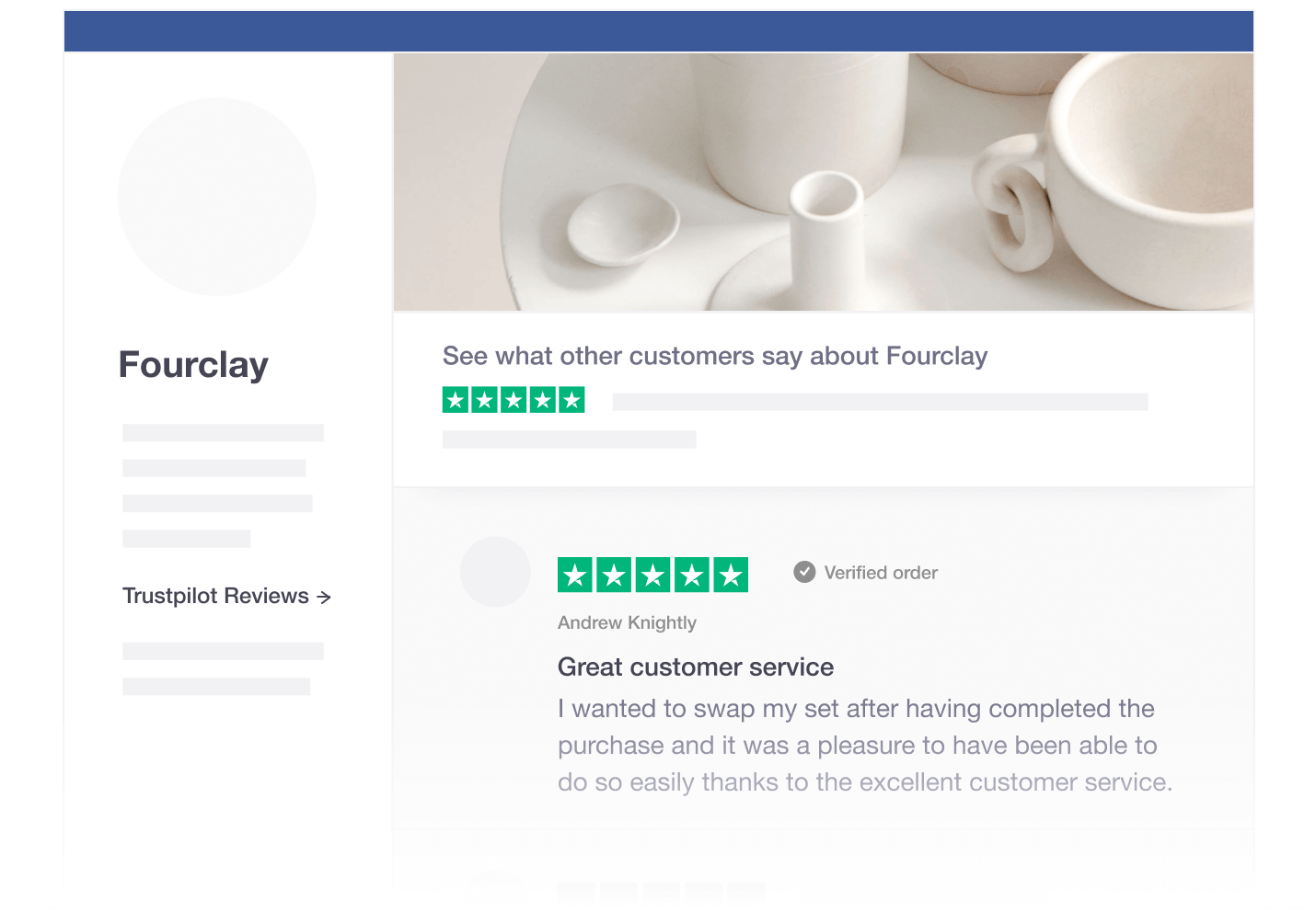Illustration of Trustpilot's social media tool for sharing reviews on Facebook