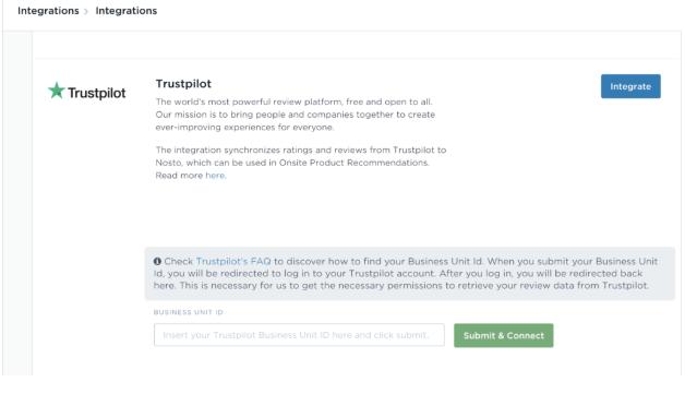 Intégration Trustpilot