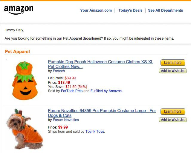 Amazon personalised emails