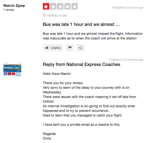 This company responds to a 1-star reviews