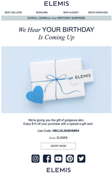 elemis personalized birthday email