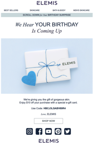 elemis personalized birthday email