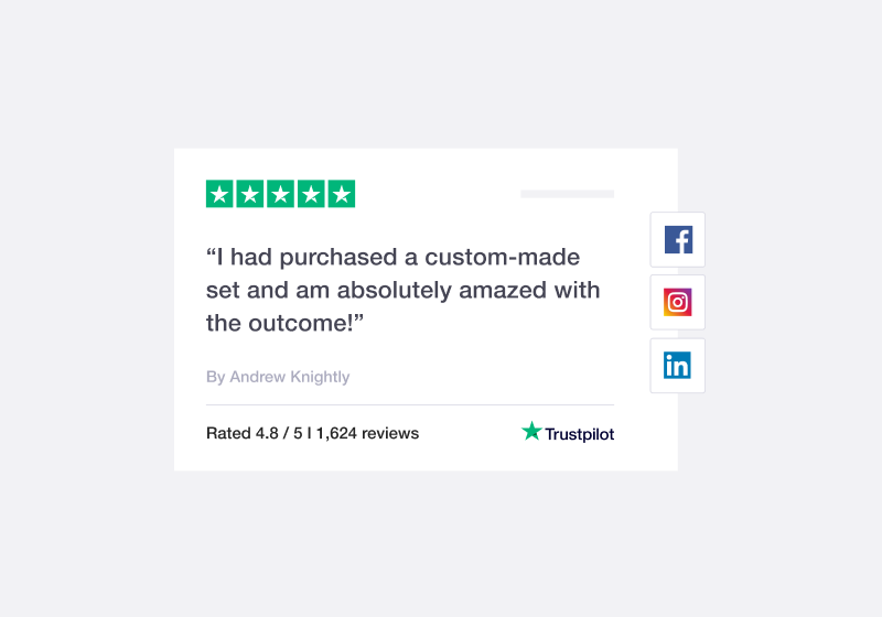 Illustration of a Trustpilot review being featured on social media