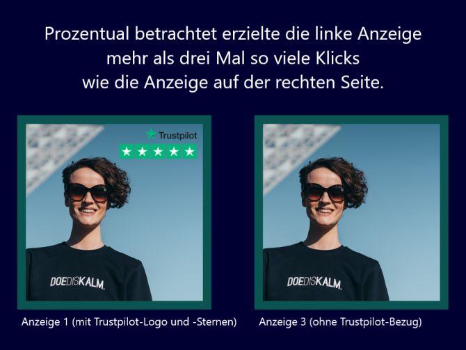 Klicks einer KLEIR.-Anzeige mit und ohne Trustpilot-Logo und -Sterne