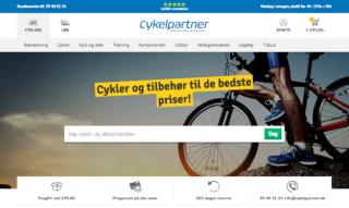 Screenshot der Website von Cykelpartner mit Sternen und der Anzahl seiner gesammelten Bewertungen