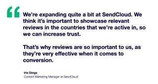 SendCloud x Trustpilot case study quote on building trust