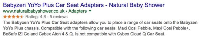 Beispiel für ein Suchergebnis auf Google mit Rezensions-Snippet