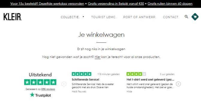 De review-widget (TrustBox) in het winkelwagentje van de webshop.