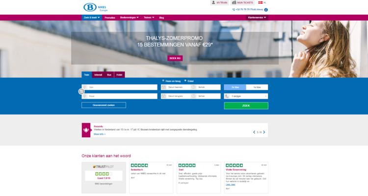 screenshot NMBS Europe pagina