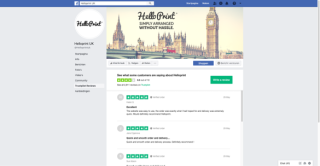 Image of HelloPrint's Facebook profile page, showcasing Trustpilot's reviews