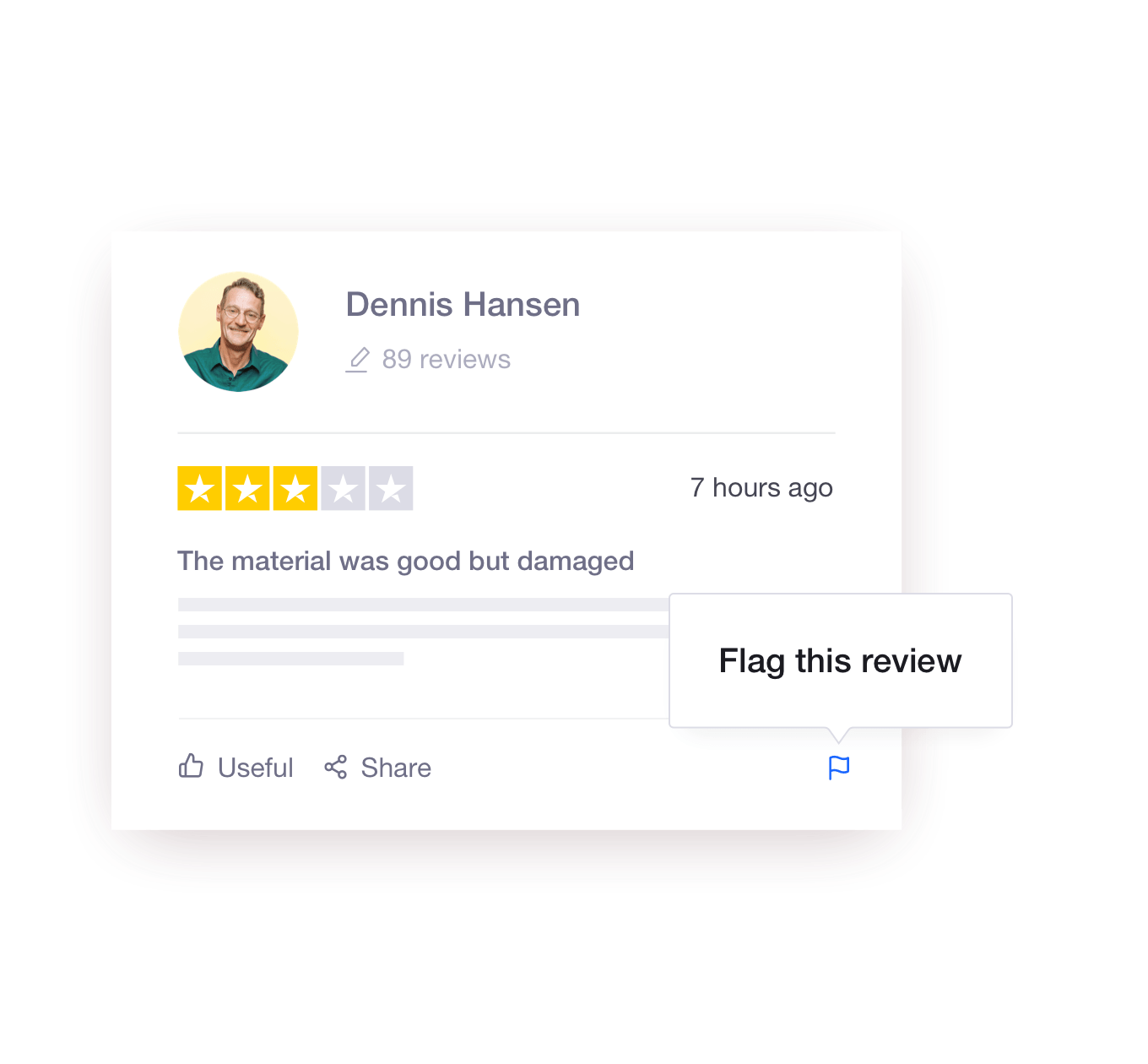 Illustration of Trustpilot's review flagging functionality