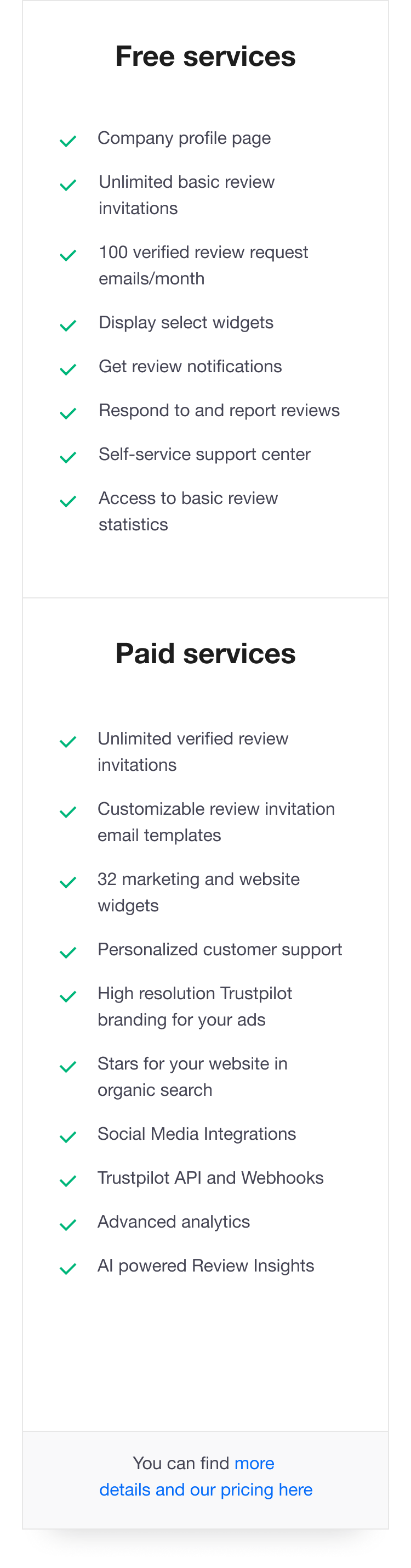Illustration of a list describing the benefits of Trustpilot's Free and Paid services