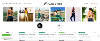 Screenshot of Fabletics page showcasing its credibility with user-generated photos and Trustpilot reviews