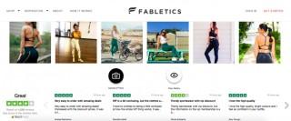 Immagine estrapolata dal sito di Fabletics che ne mostra la credibilità attraverso le immagini caricate dagli utenti e le recensioni di Trustpilot