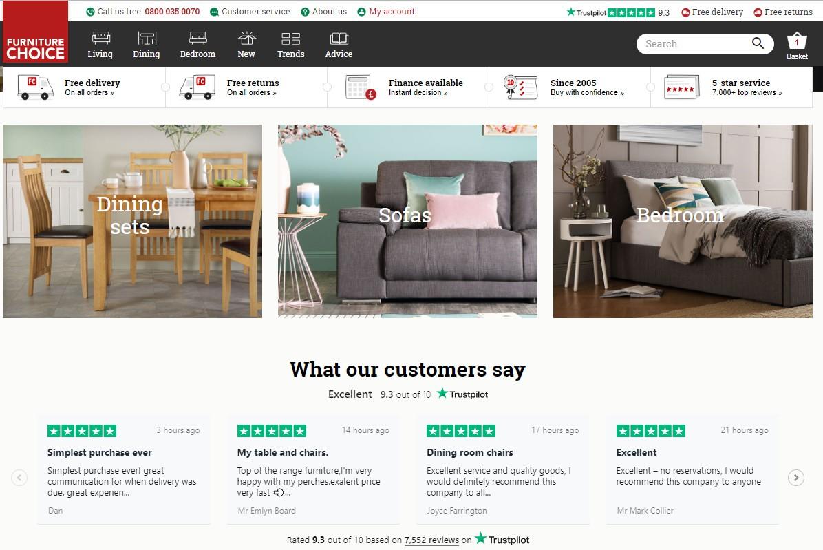 Furniture Choice reviews homepage