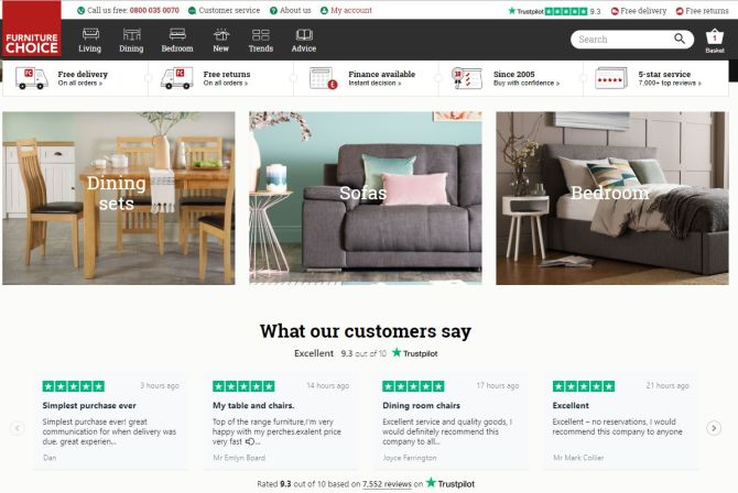 Startseite der Website von Furniture Choice