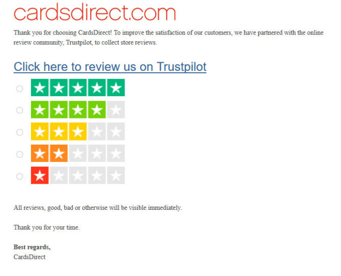 CardsDirect Trustpilot Review Invitation