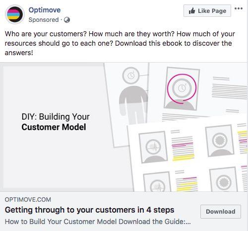 Le landing page di Optimove negli annunci su Facebook