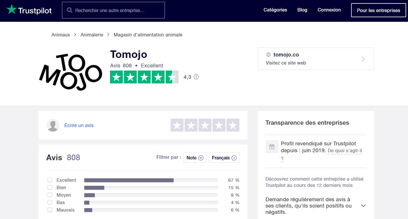 Tomojo company page Trustpilot