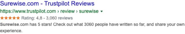 Trustpilot profile pages still have review snippet stars