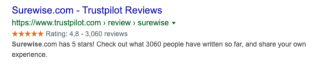 Trustpilot profile pages still have rich snippet stars